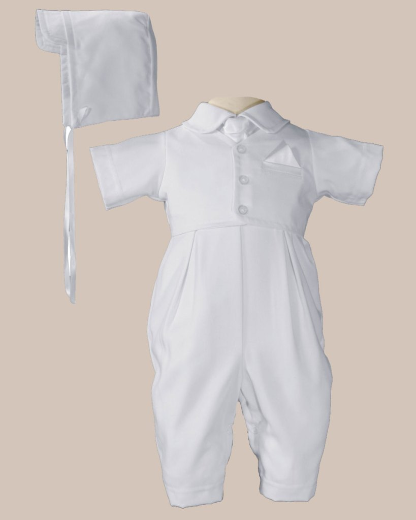 Boys Handsome White Vested Gabardine Short Sleeve Christening Baptism Coverall