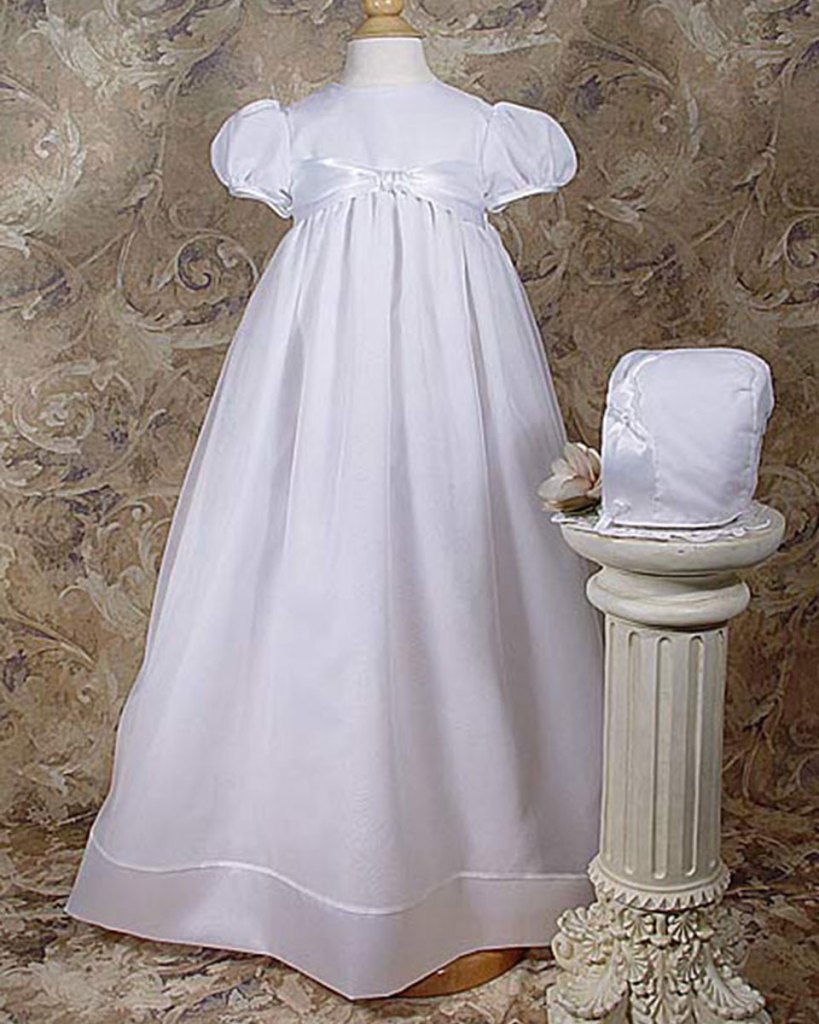 "Girls 31"" Poly Cotton Organza Christening Gown with Bonnet and Slip"