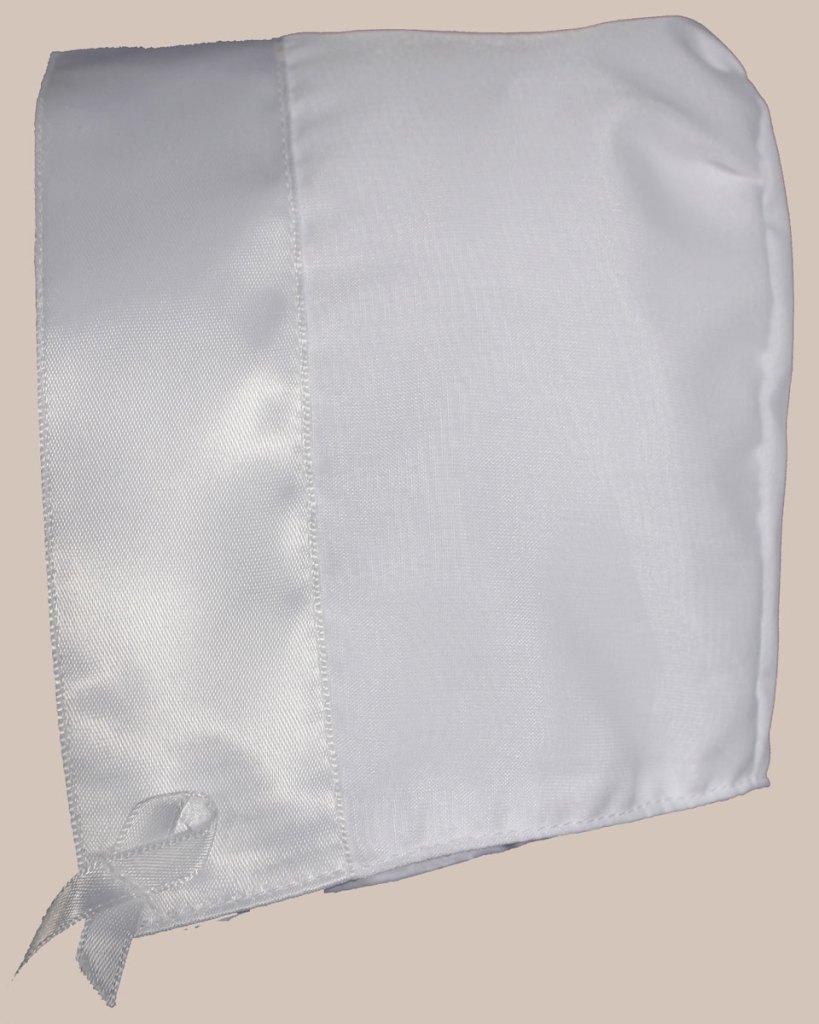 White Organza Overlay Poly Cotton Handmade Bonnet with Satin Trim