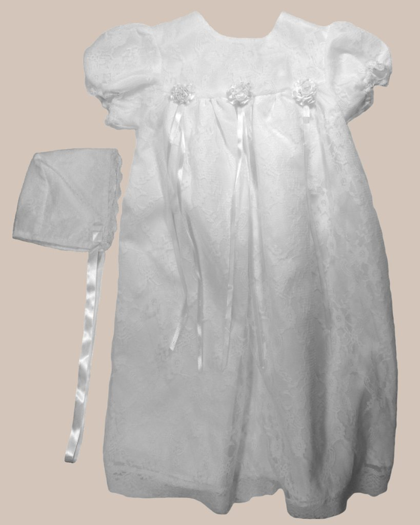 Girls' White All-Over Lace Christening Gown with Bonnet