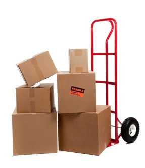 Stack of moving boxes on a hand truck