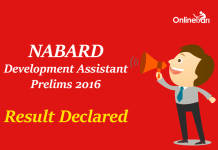 NABARD Development Assistant Prelims Result