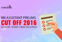 RBI Assistant Prelims Cut off 2016: Official Score Card Released