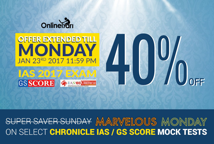 40 % Off on Super Saver Sunday for IAS 2017 Exam