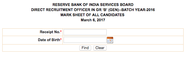 RBI Grade B Officer mark sheet