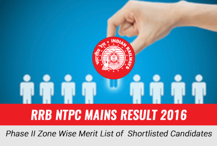 RRB NTPC Mains Result 2016: Zone Wise Merit List of Shortlisted Candidates