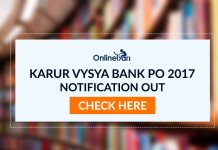 Karur Vysya Bank PO 2017 Notification Out