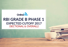 RBI Grade B Phase 1 Expected Cut off 2017 (Sectional & Overall)