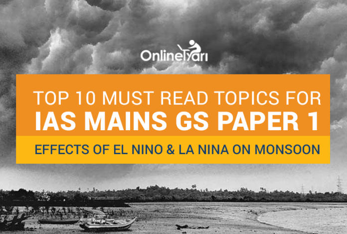 Top 10 Must Read Topics for IAS Mains GS Paper 1 | Effects of EL Nino and La Nina on Monsoon