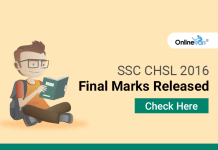 SSC CHSL 2016 Final Marks Released: Check Here