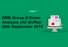 RRB Group D Exam Analysis 2018 (All Shift): 26th September