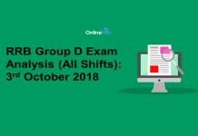 RRB Group D Exam Analysis 2018 (All Shift): 3rd October