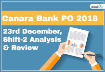Canara Bank PO Exam Analysis, Paper Review (Shift 2): 23rd December 2018