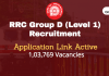 RRC Group D (Level 1) Recruitment Begins. 1,03,769 Vacancies