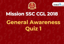 General Awareness Questions for SSC CGL 2018 : Quiz 1