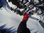 Flying over Whistler Village in 2008
