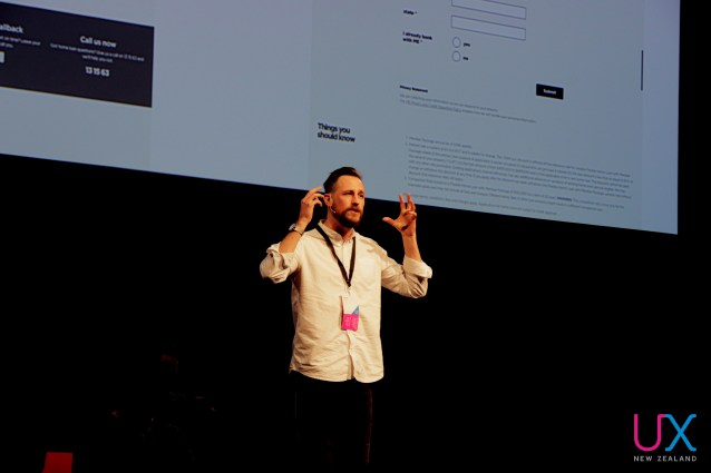 Dave Hockly on stage at UX New Zealand 2017