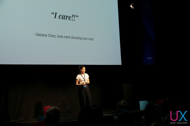 Serena Chen onstage at UX New Zealand 2017