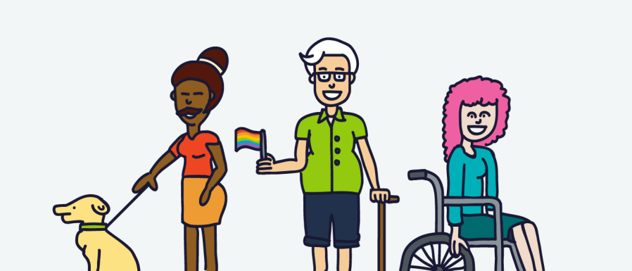 An arrangement of people in a line, designed to represent different genders, ethnicities and sexual orientations. One person is in a wheel chair and one is walking a dog.