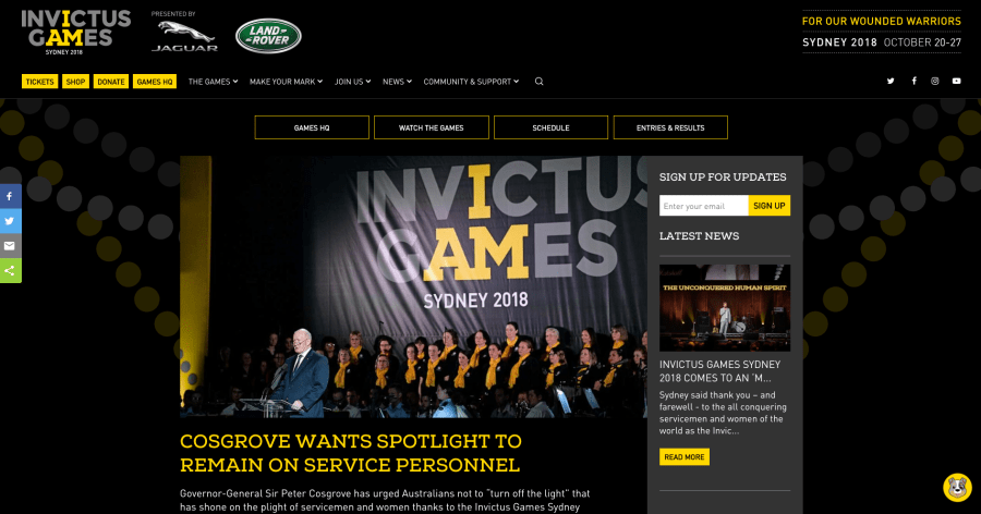 The homepage of the Invictus Games 2018 website.