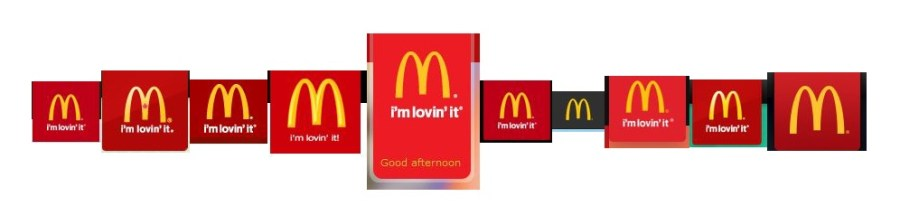 McDonald's logos from left to right: Australia, Canada, Fiji, India (West and South India site), Malaysia, New Zealand, Singapore, South Africa, the UK, and the US as they appeared on the websites at the time of testing. How many different shades of red can you spot?