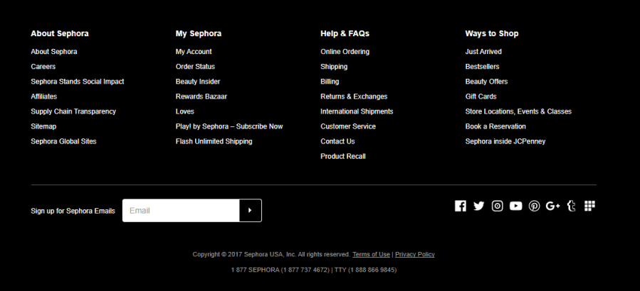 The giant footer containing lots of links on the Sephora US website