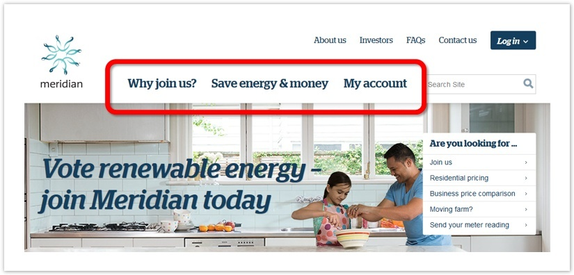 The top-level headings on Meridian Energy's website