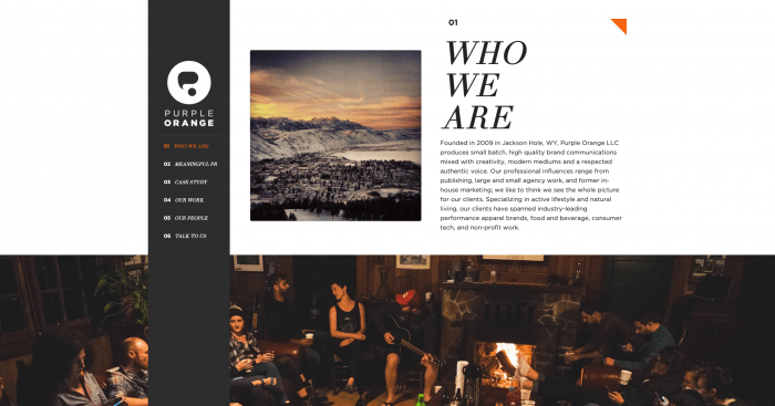 The 'Who we are' section on the Purple Orange website.