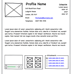 A wireframe example of a webpage.