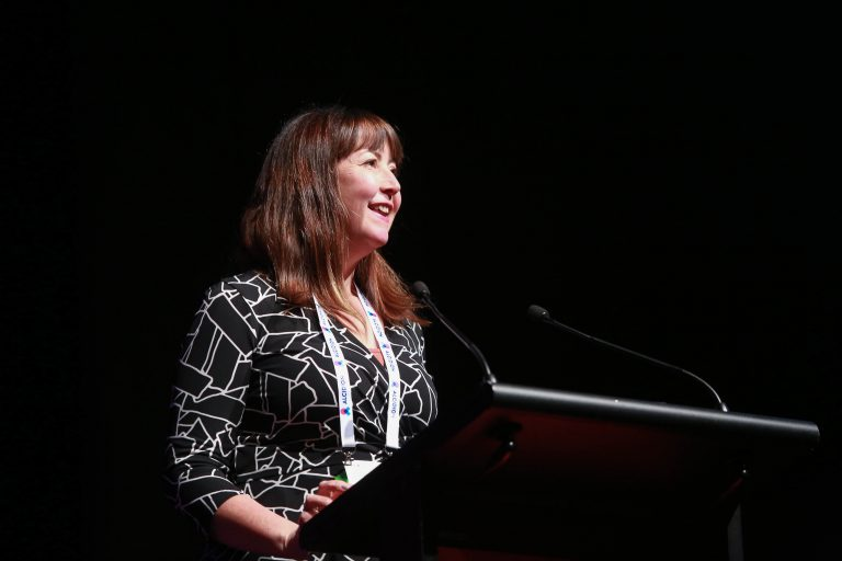 Orion Health, guest speaker, Jocelyn Palmer presenting at HiNZ 2019.
