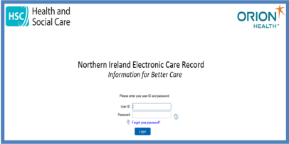 NIECR log in screen