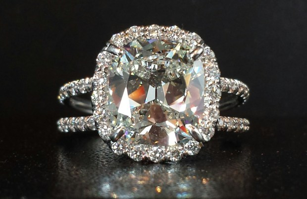 Louis Glick 3.02ct Cuchion Cut Diamond Ring at Oster Jewelers