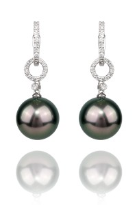 Oster Pearls Tahitian Drops .29ctw Diamond White Gold Earrings | Oster Jewelers