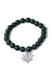 Sydney Evan Diamond Cannabis Leaf & Onyx Bead Bracelet | Oster Jewelers Blog