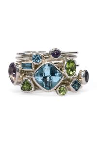 Janice Girardi 10 Stacking Topaz, Amethyst & Peridot Rings | Oster Jewelers Blog