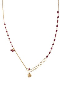 Anne Sportun Ruby Bead & Gold Link Wrap Necklace | Oster Jewelers
