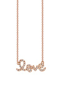 Sydney Evan Iconic LOVE Necklace in Rose Gold