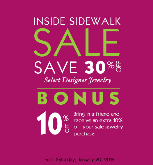 Annual Winter Inside Sidewalk Sale going on now.