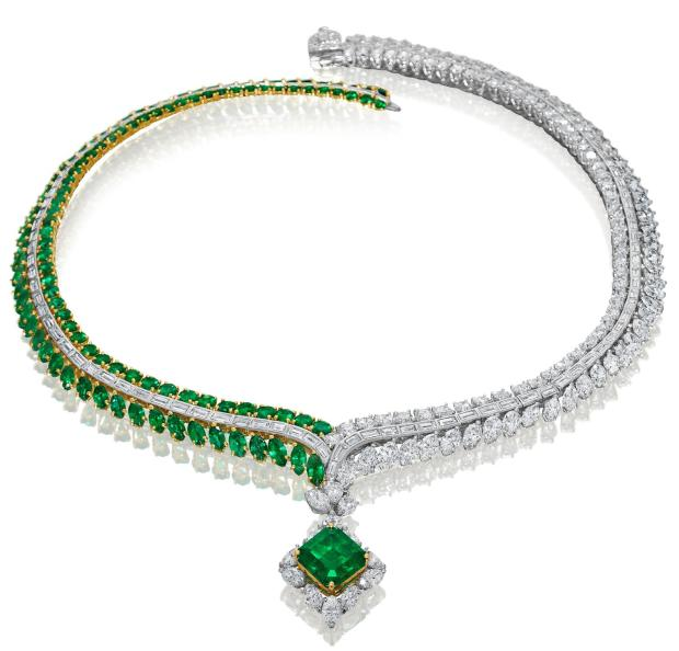 Hammerman Emerald & Diamond Necklace