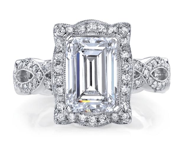 Katharine James Bellas Love Emerald Cut Semi Mount Ring