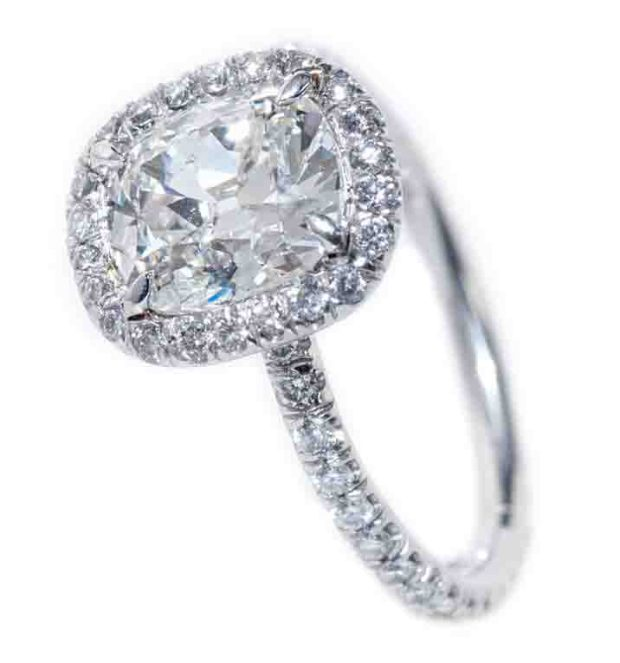 Louis Glick Cushion Cut Diamond Ring with Halo