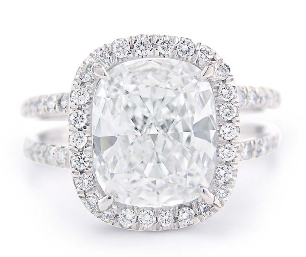 Louis Glick Split Shank Halo Diamond Ring