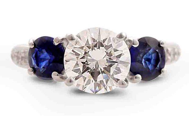 Louis Glick Diamond Sapphire Ring