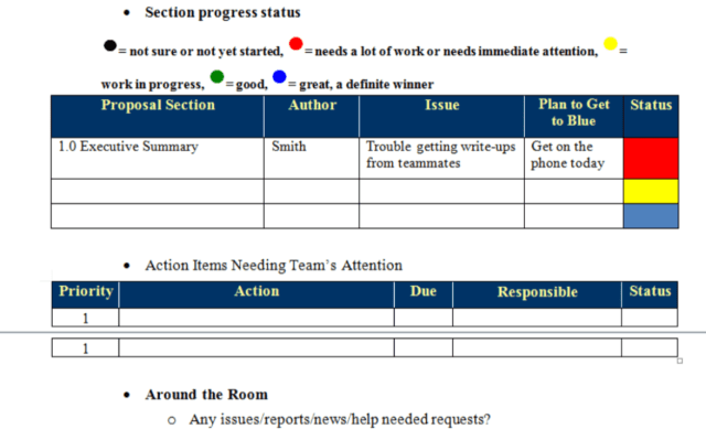 Daily status meeting tracking matrix that improves proposal management processes and Pwin