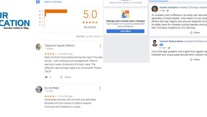 Chinmaya IAS Academy Chennai Reviews