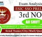 ESIC SSO Prelims 2018 - Overall Exam Analysis - 3rd November