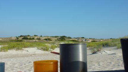 camp cook set on beach