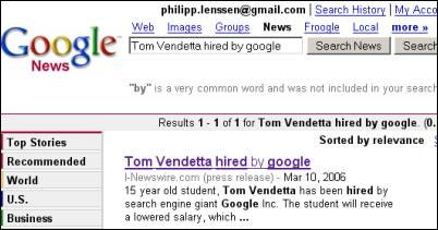 Tom Vendetta Google News Article