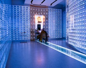 At the Banshoji temple in Nagoya city, there are sinerarias in the main building. On the 3rd floor, there is a crystal place called Suishoden. In this hall, blue LED (light-emitting diodes) illuminate 2,000 small glass containers stacked along the hall's walls, each container is decorated with an image of the Buddha. A visitor put an electronic identity card at the entrance and the appropriate urn lights up in gold. Regardless of the religious sect memorial services are held.
