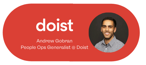 Andrew Gobran People Ops Generalist at Doist and a picture of a brunette man in a checkered shirt